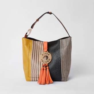 River Island Womens Black hoop and tassel slouch tote bag