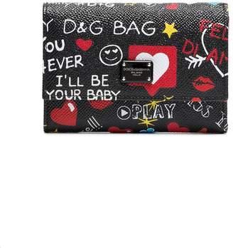 Dolce & Gabbana Black graffiti leather wallet