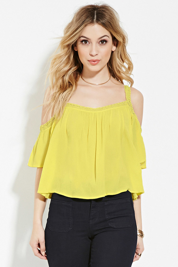 FOREVER 21+ Lace-Trimmed Off-The-Shoulder Top