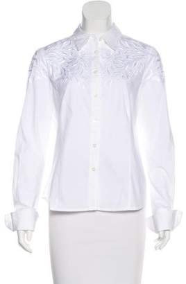 Pink Tartan Embroidered Button-Up Top
