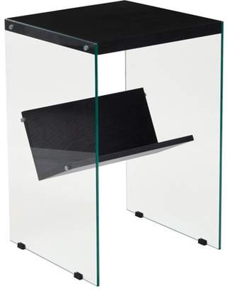 Ash Flash Furniture Highwood Collection Dark Wood Grain Finish End Table with Shelves and Glass Frame