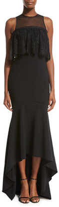 Theia Sleeveless Stretch High-Low Gown, Black $995 thestylecure.com