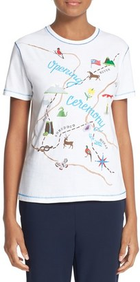 Women's Opening Ceremony Embroidered Map Tee $150 thestylecure.com