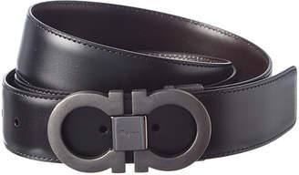 Salvatore Ferragamo Double Gancini Adjustable & Reversible Leather Belt