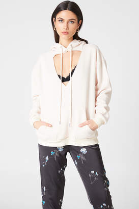 Glamorous Cut Out Hoodie Stone
