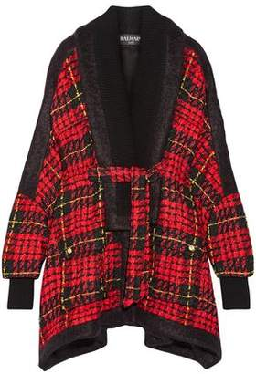 Balmain Oversized Felt-trimmed Checked Boucle-tweed Coat