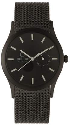Obaku Men's V124GBBMB2 Black Titanium Coated Steel Date Watch