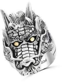 Effy Sterling Silver & 18K Yellow Gold Dragon Ring
