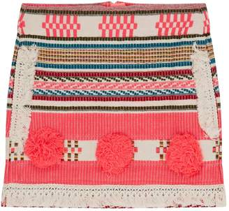Billieblush Jacquard Stripe Pom Pom Skirt