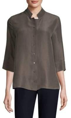 Eileen Fisher Silk Button-Front Top