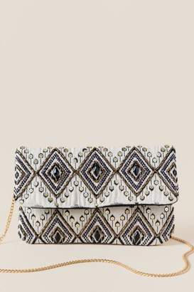 francesca's Barb Diamond Clutch Crossbody - Beige