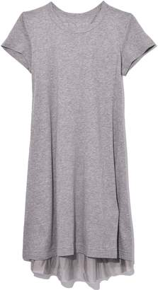 Sacai Cotton T-Shirt Dress in Light Grey