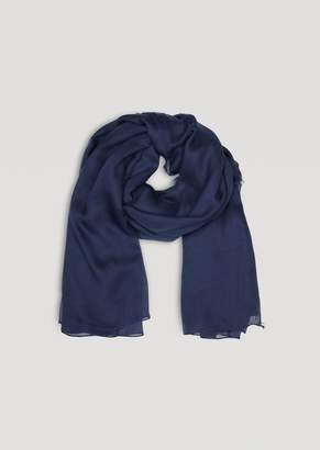 Emporio Armani Modal Scarf With Printed Logo And Frayed Hems