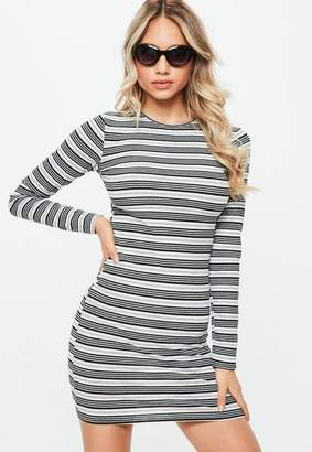 Missguided Striped Ribbed Long Sleeve Bodycon Dress