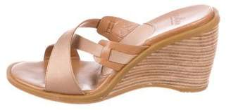 Hogan Satin Wedge Slide Sandals