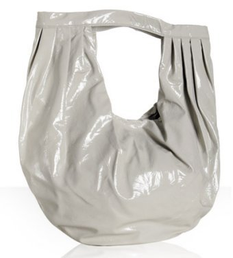 Dautore off-white textured patent leather large hobo