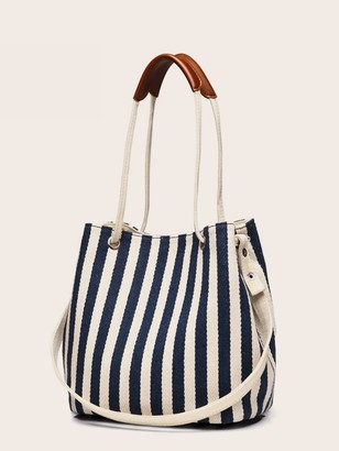 Shein Striped Canvas Tote Bag