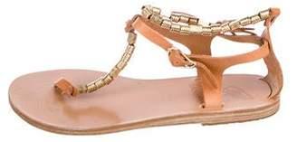Ancient Greek Sandals Leather Embellished Sandals