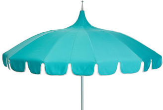 One Kings Lane Aya Pagoda Patio Umbrella - Aqua/White
