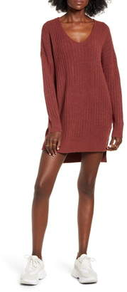 DREAMERS BY DEBUT Ribbed Long Sleeve Sweater Minidress
