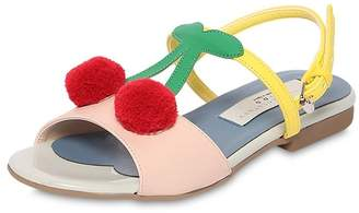 Stella McCartney Cherry Pompom Faux Leather Sandals