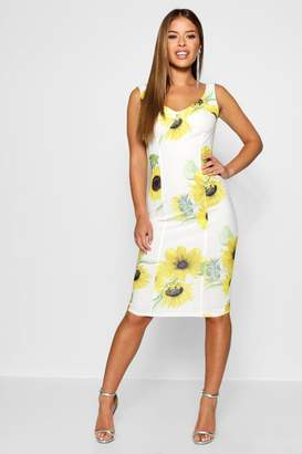 boohoo Petite Sunflower Print Cup Detail Midi Dress