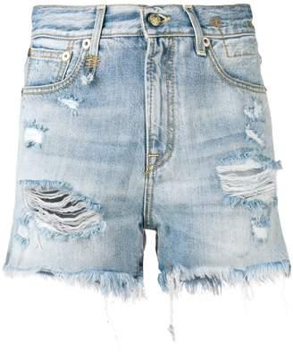 R 13 destroyed denim shorts