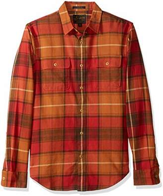 Lucky Brand Men's Casual Long Sleeve RED Plaid Workwear Button Down Shirt Orange