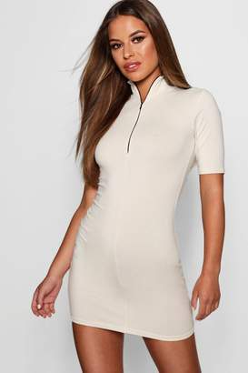 boohoo Petite Olivia Zip Front Bodycon Dress