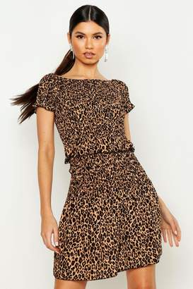 boohoo Leopard Print Shirred Mini Skirt
