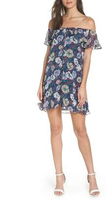 Mary & Mabel Off the Shoulder Button Front Shift Dress