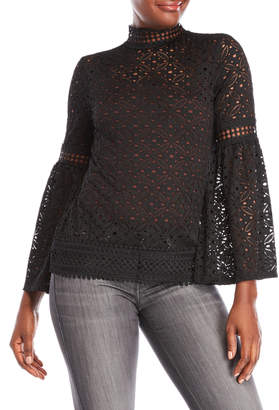 Cable & Gauge Bell Sleeve Lace Top