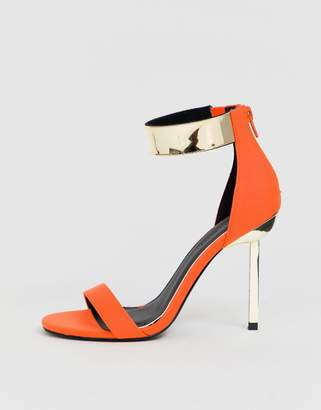 Barely There Asos Design ASOS DESIGN Hydroid heeled sandals in neon orange
