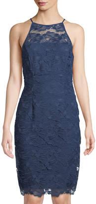 Tahari ASL Benson Floral Lace High-Neck Dress