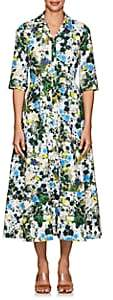 Erdem Women's Kasia Floral Cotton Midi-Shirtdress - White, Blue
