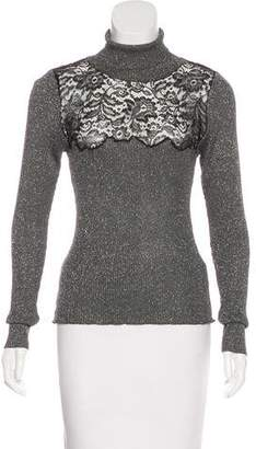 Versace Lace-Accented Turtleneck Sweater