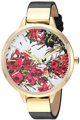 Nine West Women's NW/2176FLBK Gold-Tone and Black Strap Watch