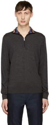 Paul Smith Grey Merino Half-Zip Turtleneck