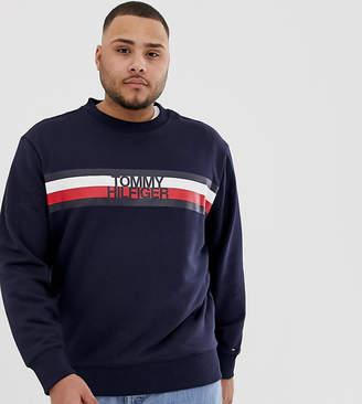 Tommy Hilfiger Big & Tall Chest Icon Stripe Logo Crew Neck Sweatshirt in Navy