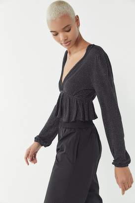 Urban Outfitters Noah Plunging Ruffle Cropped Top