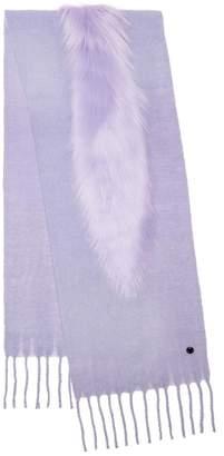 CHARLOTTE SIMONE Wrap-Star Knit Scarf with Faux Fur Trim