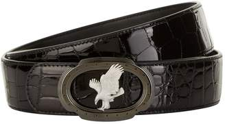 Stefano Ricci Flying Eagle Patent Crocodile Skin Belt