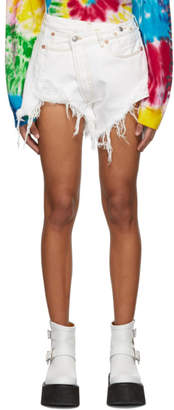 R 13 White Denim Crossover Shorts