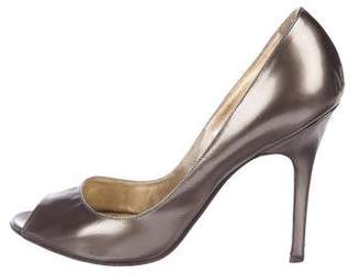 Luciano Padovan Leather Peep-Toe Pumps