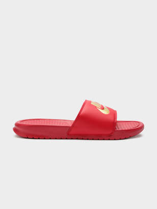 Nike Mens Benassi Just Do It Slides in University Red and Metallic Gold