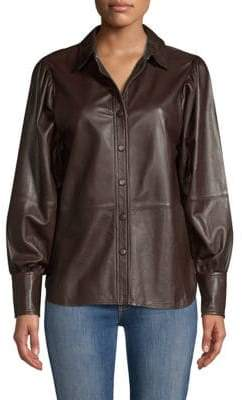 Ganni Rhinehart Button-Down Leather Blouse