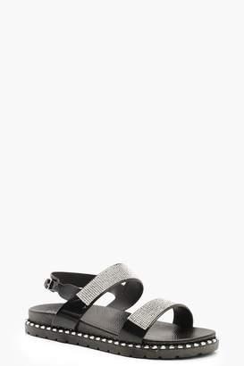 b08c0e685cf boohoo Diamante Strap Footbed Sandals