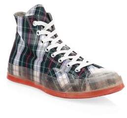 Converse Men's Translucent Midsole Chuck 70 High-Top Plaid Canvas Sneakers - Enamel Red - Size 10 UK (11 US)