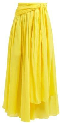 Three Graces London Dorothea Waist Tie Crinkle Cotton Skirt - Womens - Yellow