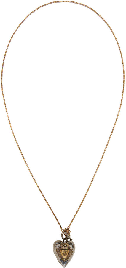 Alexander McQueenAlexander McQueen Silver & Gold Heart Locket Necklace